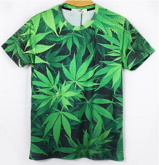 215 New Men women unisex 3D weed leaf t shirt shirts green palm funny T-shirt summer casual top tees crew neck clothing