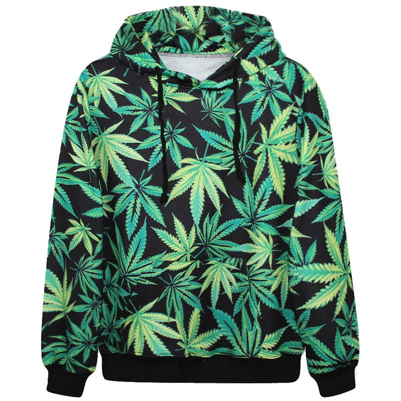 Harajuku hoodies hooded men lovely tracksuits print weeds green leaves 3d sweatshirt casual hoody tops with pockets