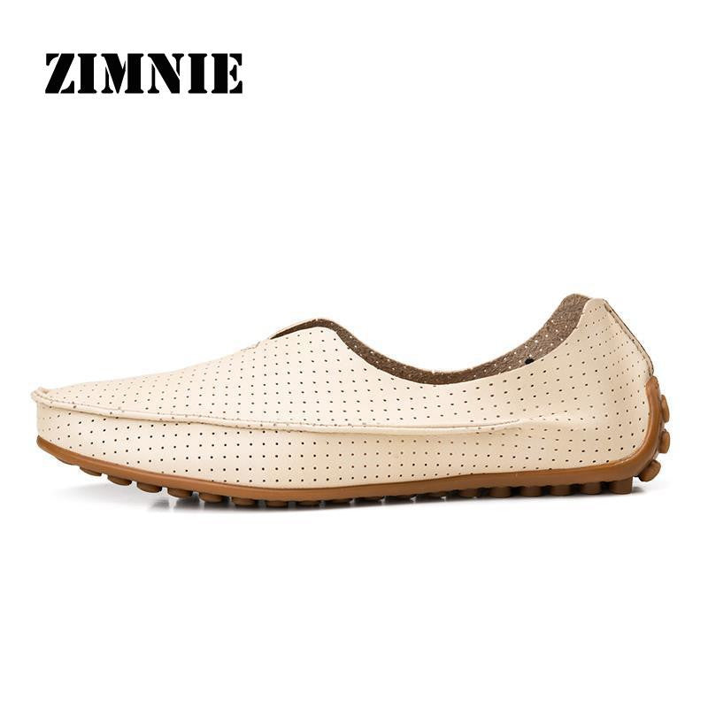 ZIMNIE Hollow Out Breathable New 2016 Summer Genuine Leather High Quality Fashion Shoes Men Women Shoes Casual Flat Loafer Shoes