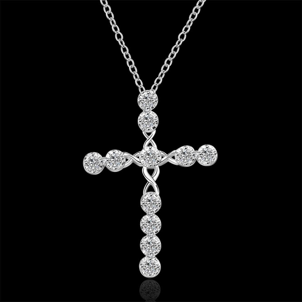 2016 N668 Lowest price Cross Christ Jesus necklace Religion women silver crystal CZ stone 1mm 18 collar GOD mercy jewelry