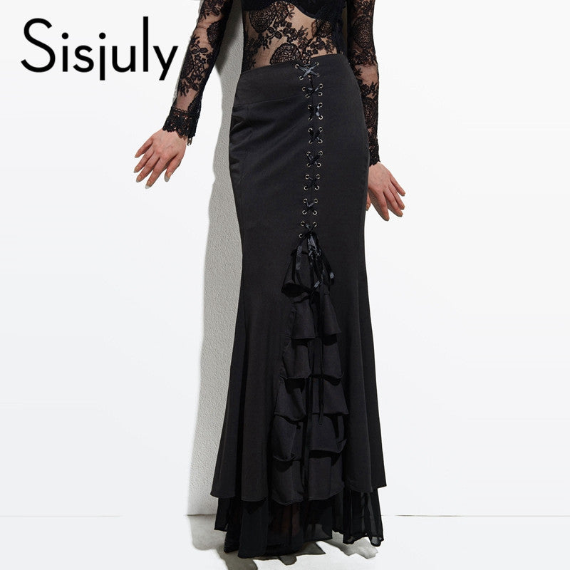 Sisjuly Skirt Long Frilly Women Sexy Fishtail Corset Lace-Up Slim Floor-Length Vintage trumpet sexy gothic style Mermaid skirts