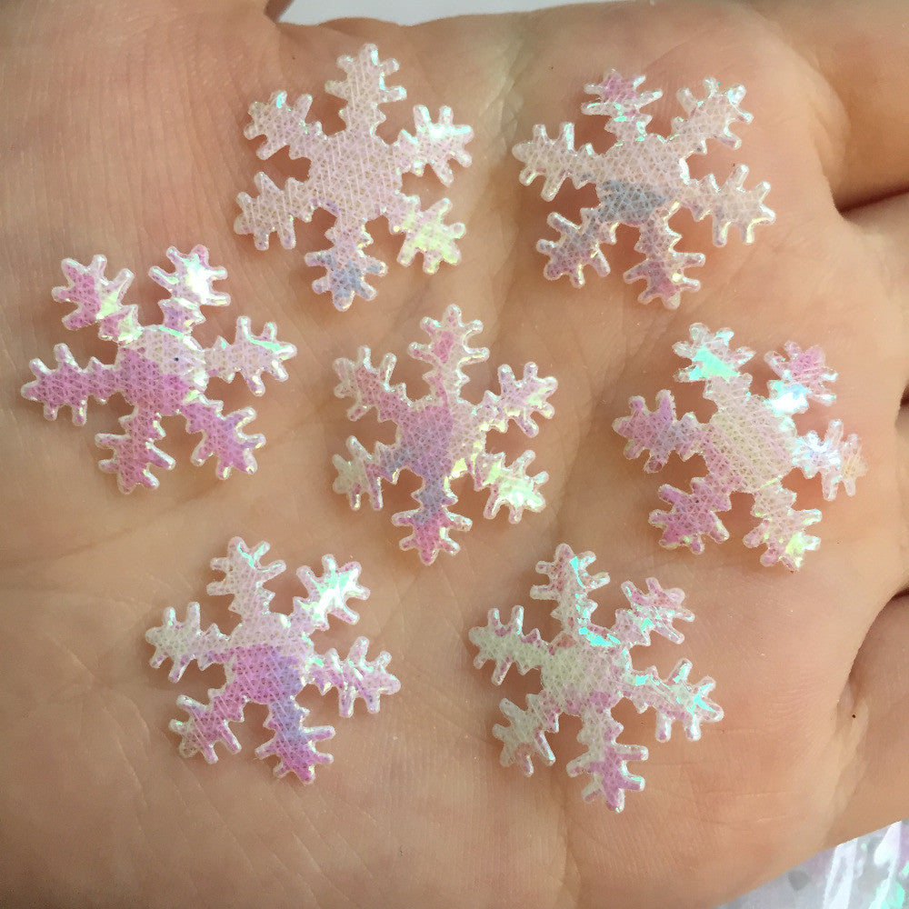 100pcs 20mm ABsnowflake Appliques Wedding /Christmas decoration /craft DIY A048