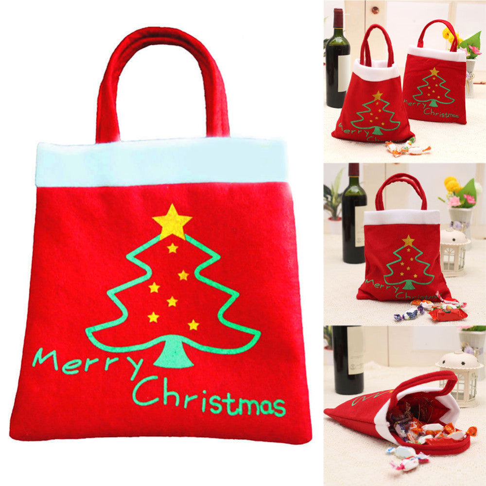 Creative Christmas Tree Pattern Santa Claus Candy Bag Handbag Home Party Decoration Gift Bag Christmas Supplie Free Shipping