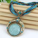 New Statement Choker Vintage Charms Bead Collar Turquoise Pendant Rhinestone Crystal Necklace Women Fine Jewelry Colares A024