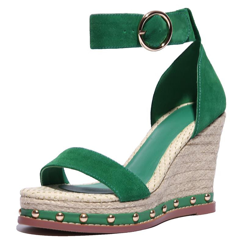 2016 summer sexy wedgrs round toe platform women sandals high quality genuine leather strap woamn shoes red green