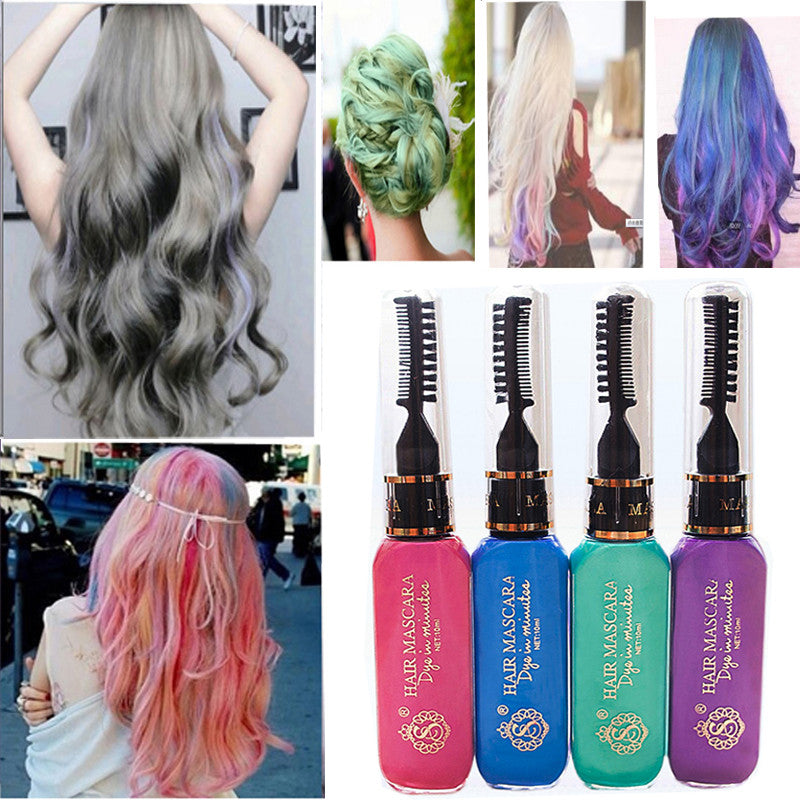 Hot New 10 Colors Gray Hair Color Professional Highlights Streaks Temporary Hair Color Spray Blue Hair Color Dry Cream