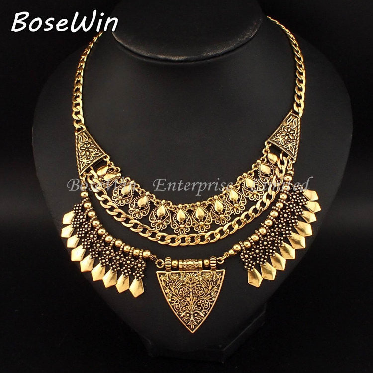 Bohemia Chic Design Fashion Necklaces For Women 2016 Vintage Carving Alloy Choker Statement Necklaces & Pendants Collares CE2882