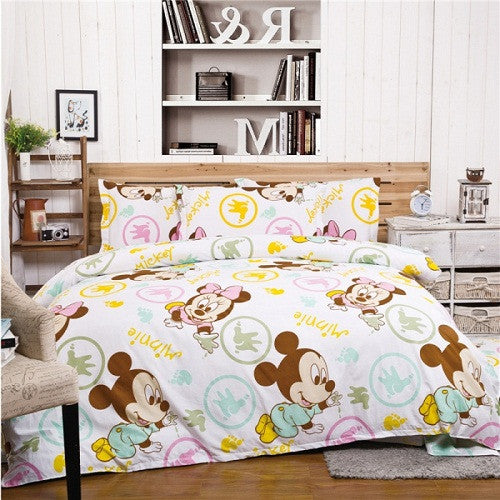 100%Cotton Queen Size Mickey Mouse Bedding set Kids Boys Gifts Bed Linen/Bed Sheet Duvet Cover  For Christmas 4Pcs