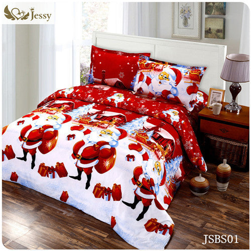 2016 jessy home Christmas Merry kids duvet/comforter cover twin/queen size 4pc Santa Claus Deer bed set bed linen bedclothes