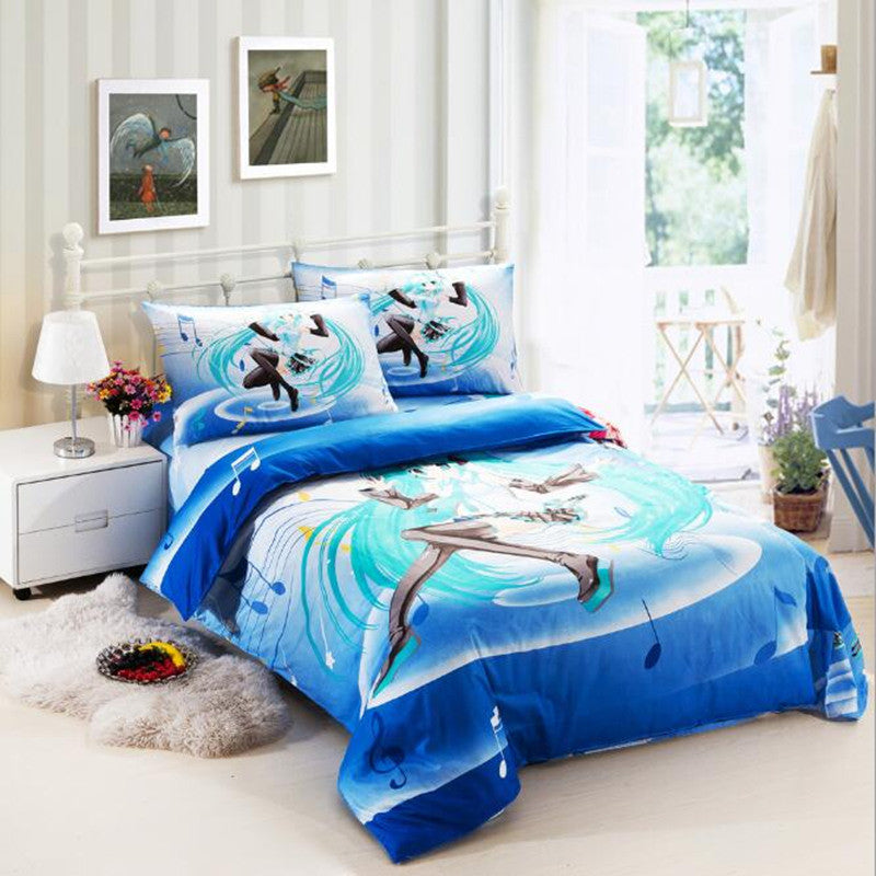 Cartoon Bedding Sets Christmas Gift for Kids Hatsune Miku Duvet Covers Set without Comforter Bedsheet Pillowcase 3pc Sets