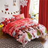 Hot! Christmas Bedding Set for Adult/kids Gift 4pcs Bed Linen Include Duvet Cover Flat Sheet Pillowcase Queen Size Free Shipping