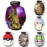 New 2016 Fashion Women/men Unisex 3D Hoodies Sweatshirt Weed Floral Galaxy Hoodies Pokemon Hip Hop Coat Tops Sweatshirts