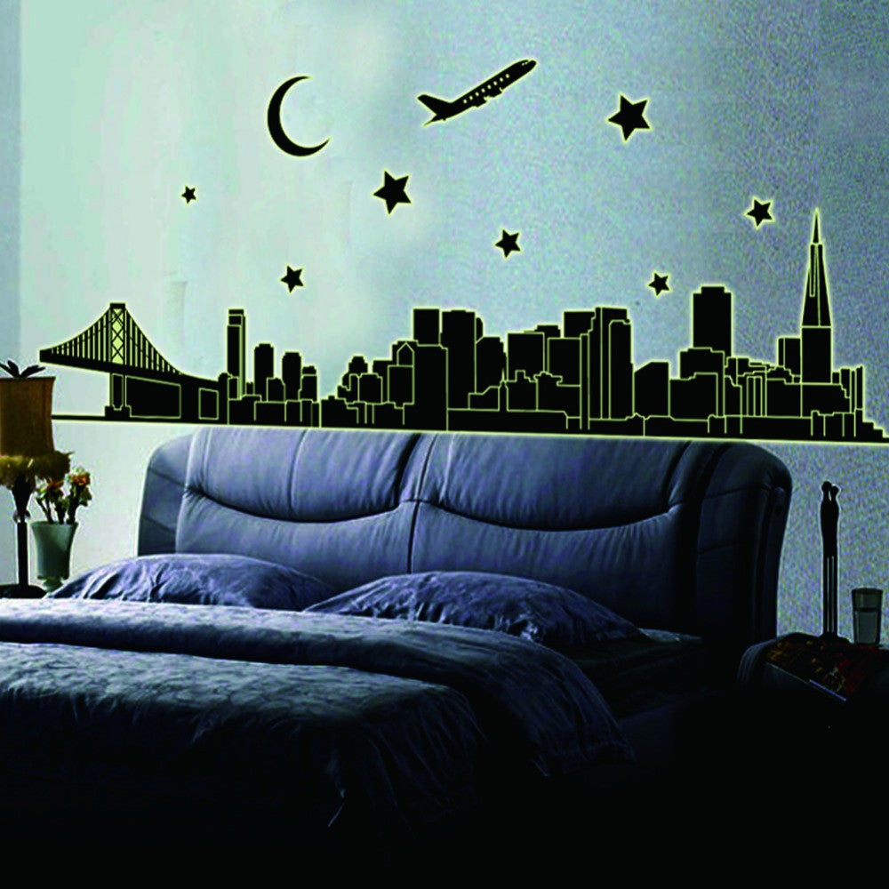 DESIGN  City nightdecoration luminous stickers wall home living room decals glow in the dark