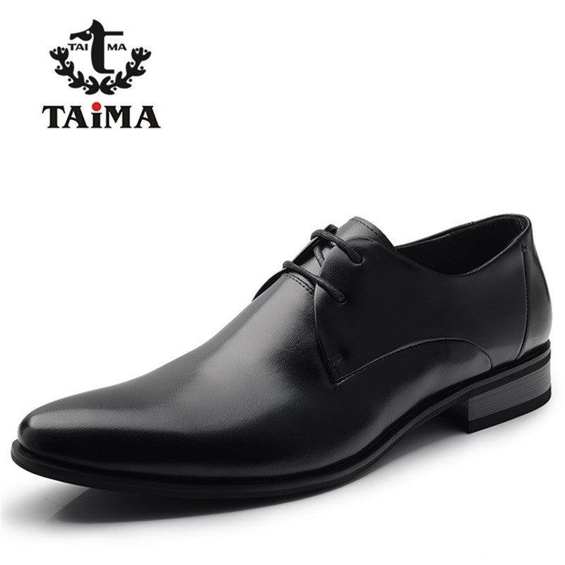2016 Fashion 100% Genuine Leather Men Dress Shoes Luxury Men's Business Casual Shoes Classic Gentleman Shoes Brand TAIMA 38-45