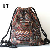 Women Vintage Backpack Gypsy Bohemian Boho Chic Hippie Aztec Folk Tribal Woven String Backpack Female Drawstring Rucksack