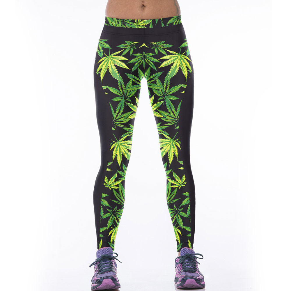2016 Trend High Elastic Women Leggings Sports Pants 3D Green Leaf Leaves Weeds Fitness Leggins Jeggings Ropa Mujer Gym Clothes
