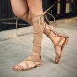 Plus Size Sexy Stylish Ankle Strap Flat Sandals Woman Suede Leather Gladiator Shoes Summer Shoes 2016