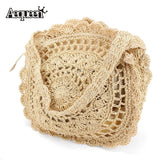 Summer Straw Women Handbags Bohemian Style Beach Shoulder Bags Round Handmade Weaving Hollow Out Crossbody Single Bag Tote Bolsa