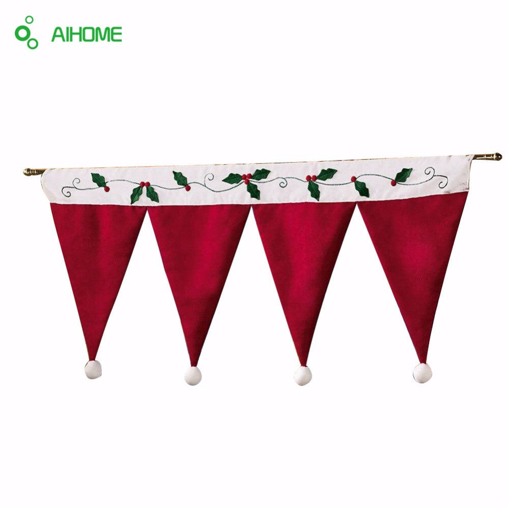 Door Window Drape Panel Christmas Decorative Curtain Home House Decorations for Xmas Party New Year Santa Claus Hat Cap Valance