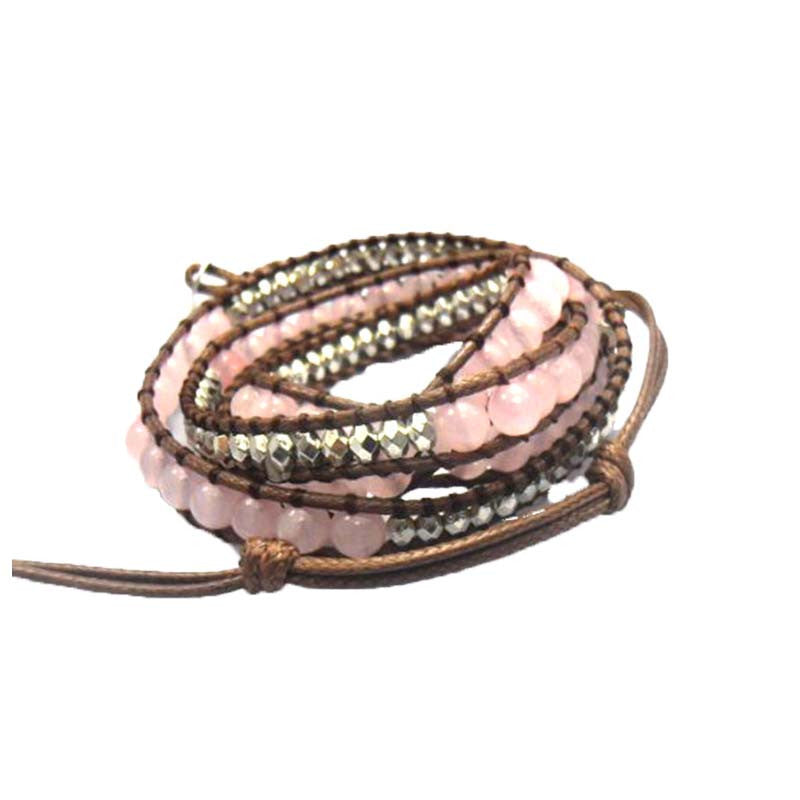 Natural Pink Round Rose Quartz 6mm beads wrap bracelet new design handmade wrap immitation leather bracelet
