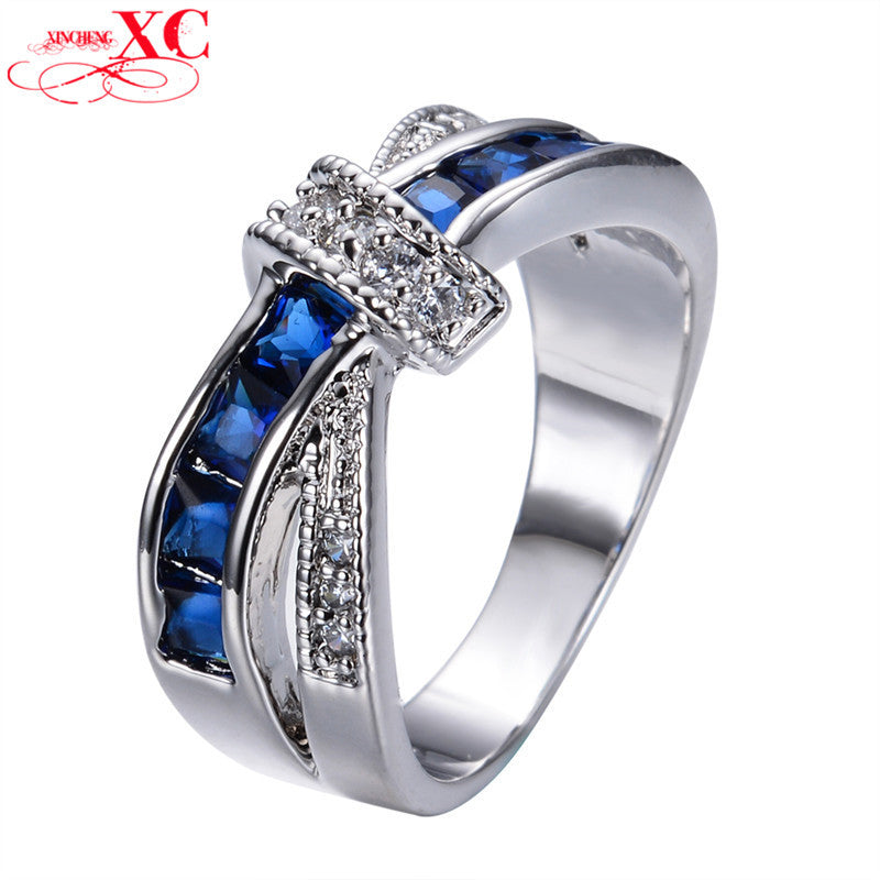 Unique Cross Vintage Design Blue Sapphire Jewelry Women/Men Wedding Ring anel White Gold Filled CZ Band Engagement Rings RW0266