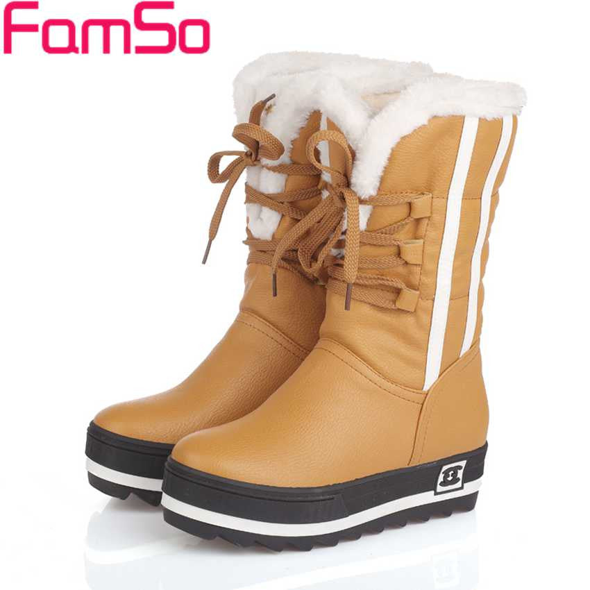 Plus Size34-43 2016 New Shoes Women Boots black Waterproof Platforms Shoes 4 Colors Winter Full Fur  Women's Snow Boots SBT1672