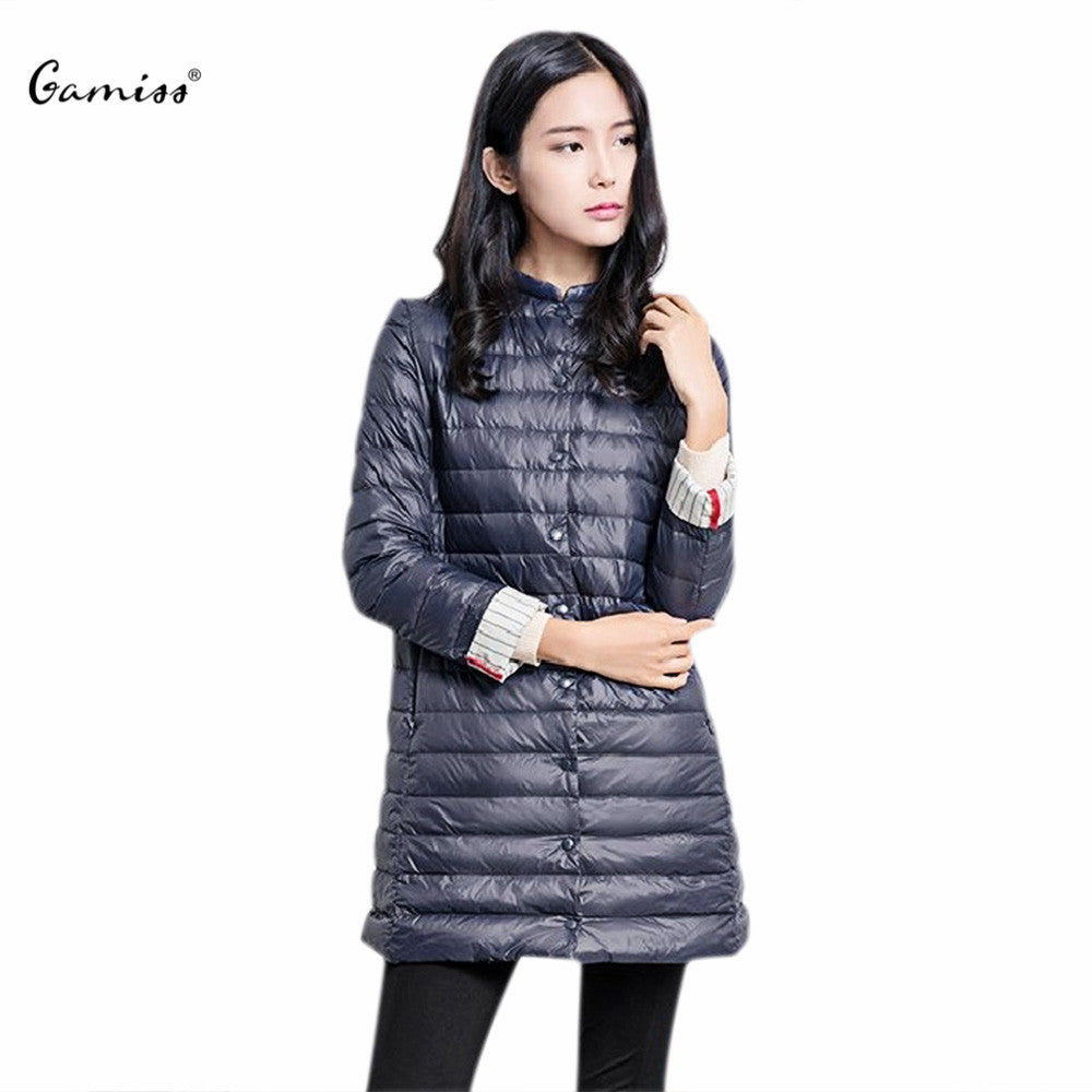 Gamiss Casual Ultralight Down Coat Women Winter Jacket Women's Down Jackets Long Thin Down Coat