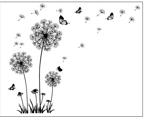 Butterfly Flying In Dandelion Style Wall Sticker Design PVC Wall Decal