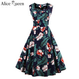 Alice Queen 1950S 60s Sexy Dresses Women Summer Rockabilly Dress Sleeveless Cotton Vintage Tea 3XL 4XL Plus Size Dresses