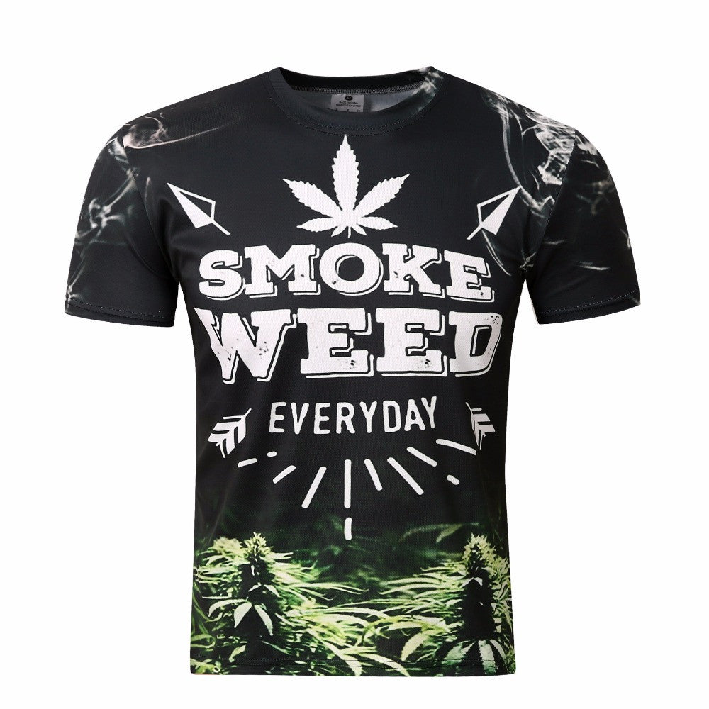 3D print Couple t shirt men smoke weed pattern camisetas hombre  spandex short sleeves o-neck compression Harajuku tshirt  tz24