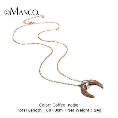eManco two colors crescent pendant necklace vintage white ivory gold plated fine chain choker necklaces for women collier femme