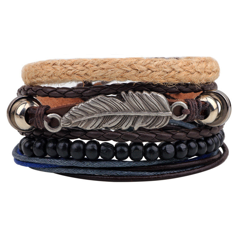 ER Vintage Tribal Bohemian Feather Bracelet Boho Silver Alloy Leaf Bracelet Cuff Men Leather Braclet Femme Male Wrist Band LB143