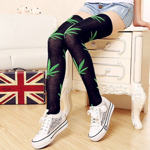 1 Pair New high over the knees stockings 4 Pattern Colors  Hemp Leaves Women Stockings #24436