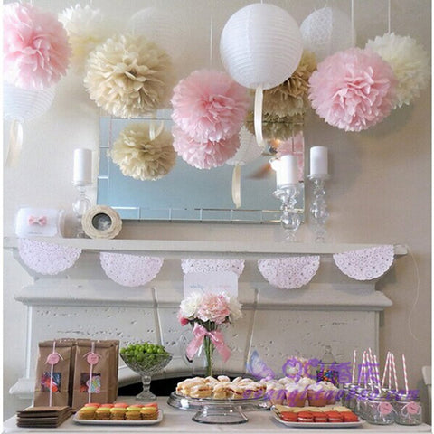 (5pcs) 15cm Wedding decoration Tissue paper pom poms balls birthday  kids party supplies baby shower christmas deco W041