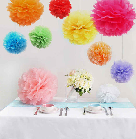 (5pcs) 20cm Wedding decoration Tissue paper pom poms balls birthday  kids party supplies baby shower christmas deco W041