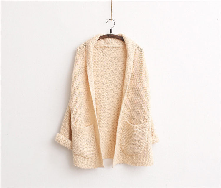 OMCHION Autumn Winter Long Cardigan Women Sweater Casual Loose Pockets Simple Knitwear Sweaters Coat Feminino Inverno WKS01