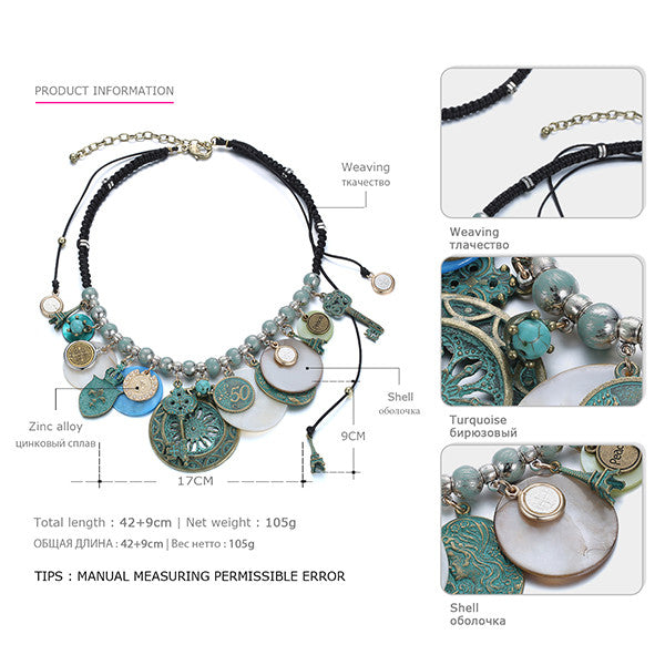 eManco Ethnic Vintage Geometric Statement Charms Necklace & Pendant Women Shell Turquoise Weaving Rope Ancient Bronze Jewelry