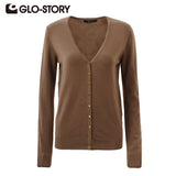GLO-STORY Women Sweater Cardigans 2016 Lady Autumn Winter Knitted Sweater Sexy Jumper Women V-neck Sweater Coat Tops WMY-2604