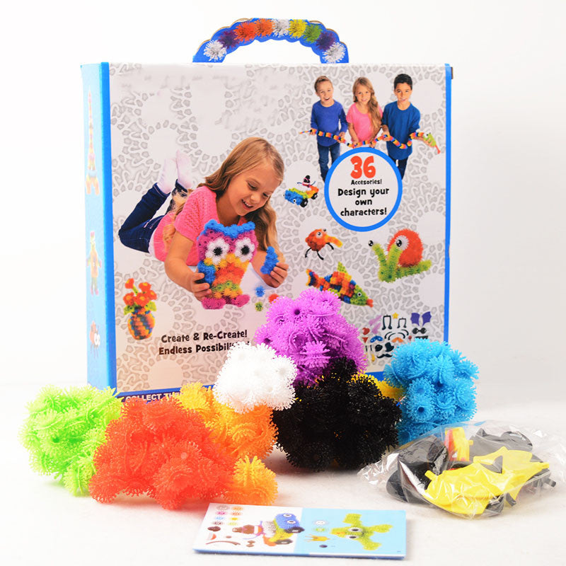 400pcs/Set Assemble 3D Puzzle DIY Puff Ball Squeezed Ball Creative Thorn Ball Clusters Handmade Educational Toys Birthday Gifts