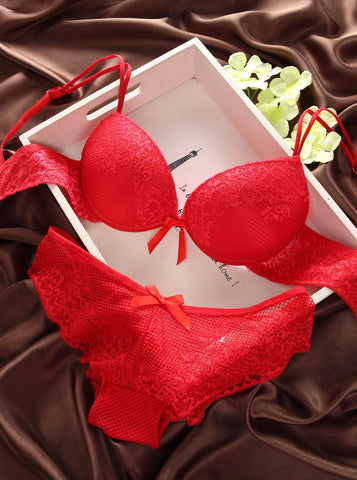 28f7ed355 Luxury New Deep V New brand sexy big size push up bra set floral embroidery  lace ...