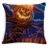 Evil Pumpkin Decorative Cushion Cover Halloween Cotton Linen Square Throw Pillow Cover 45x45CM Cushion Decorative Pillow Cace