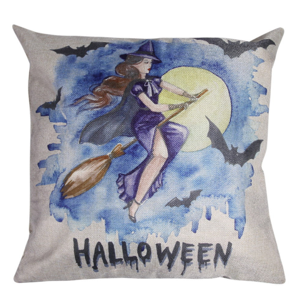 Witch Dark Pattern Cotton Linen Pillow Cover Halloween Cushion Cover Throw Pillow Case for Chair Cushion Party Decor Pillowcase