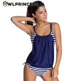 Owlprincess New Hot Retro Striped Vintage Tankinis O-neck Women Tank Push Up Sport Bathing Suit Swimwear Sexy Swimsuit Plus Size