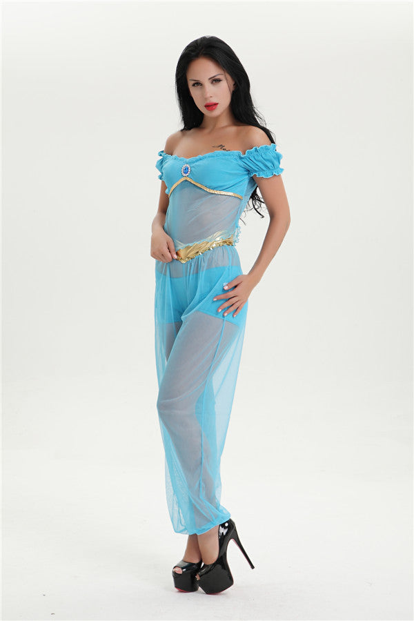 Free Shipping Arabian princess jasmine costume adult Aladdin's Jasmine cosplay halloween costumes Belly dance dress