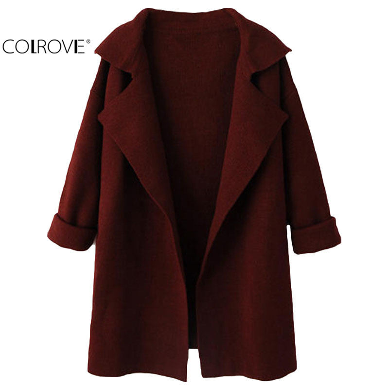 COLROVE Winter Women Fashion Outwear Knitted Open Front Vintage Wine Red Lapel Long Sleeve Loose Knitting Long Cardigan Coat