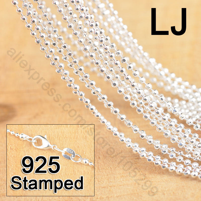 "Necklaces Pendants Free Shipping 20pcs 18"" Genuine 925 Sterling Fine Jewelry Prayer Chains With Lobster Clasps For Pendant Sets"