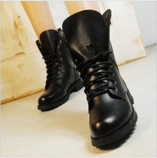 Women Boots British Style Classic Women Motorcycle Martin Boots Punk Bandage Autumn Waterproof Shoes Black Shoes plus size 34-42