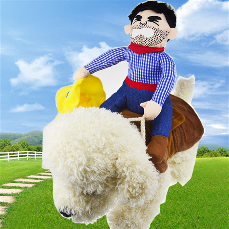 Hot Sale Riding Horse Dog Costume Novelty Funny Halloween Party Pet Dog Costume Large Dog Clothes Cowboy Dog Clothing S-XL