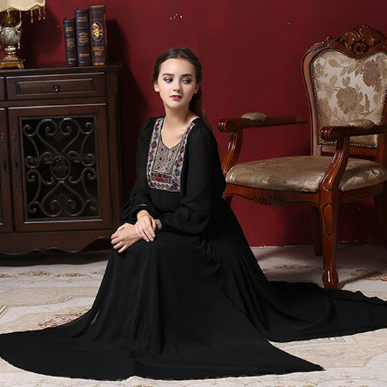 Women Vintage Muslim Maxi Dress Female Black Retro Sexy High Splits Ethnic Aztec Embroidery Long Sleeved Full Length Dresses XL