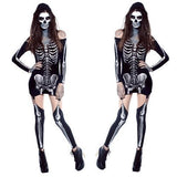 MOONIGHT Halloween Skeleton Ghost Zombie Costume Night Ds Clothing Costumes + Leg Wear